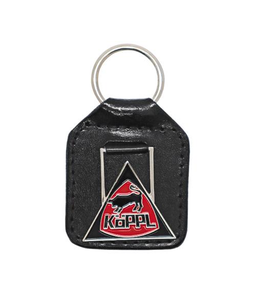 Leder-Schlüsselanhänger mit Plakette, geprägt und 2-farbig emailliert in Weichemaille