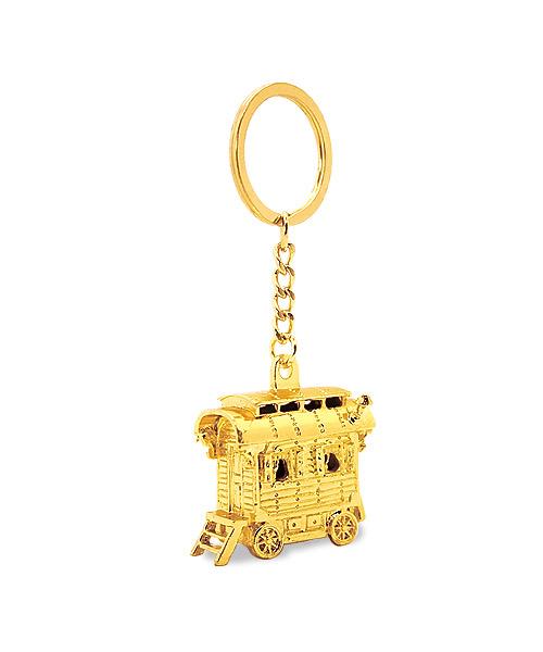 """Schlüsselanhänger aus Spritzguss, 3D-Motiv """"Gauklerwagen"""" mit eingearbeiteten Aussparungen"""