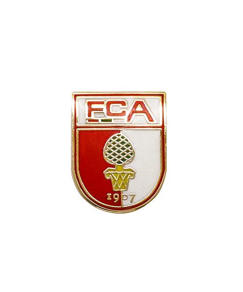 Pin bzw. Anstecker FC Augsburg geprägt und 4-farbig emailliert in Hartemaille