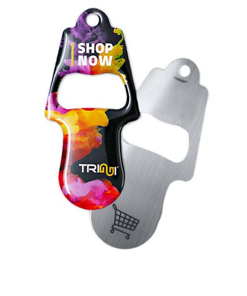 """Einkaufswagenlöser TRIGGI®Öffner Modell TRo-001 """"Shop now"""" - Einkaufswagenchips bedrucken"""