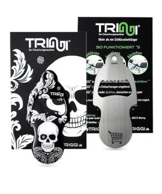 """Einkaufswagenlöser TRIGGI®Öffner Modell TRo-002 """"Flower Skull""""- Einkaufswagenchips bedrucken"""