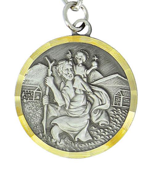 Christophorus Plakette und Schlüsselanhänger mit Reliefprägung