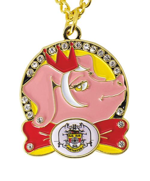 Karnevals-Medaille mit Kette und zusätzlichem Broschenverschluss, inkl. Schmucksteinen und mehrfarbiger Emaillierung