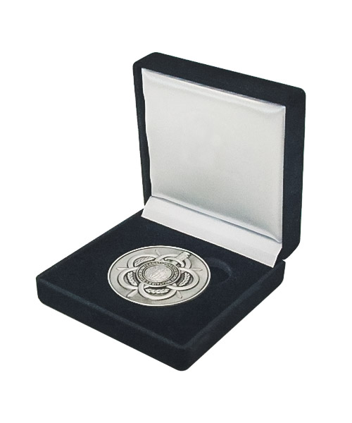 Silberfarbene Münze / Medaille in Samt-Box mit filigranen Reliefs in hochwertiger Optik