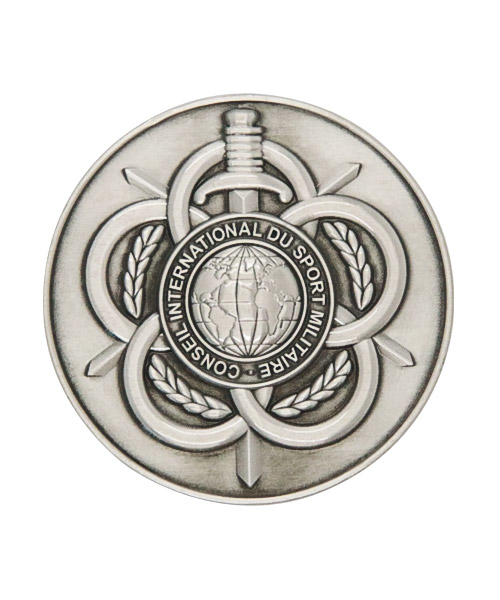 Silberfarbene Münze / Medaille in Samt-Box mit filigranen Reliefs in hochwertiger Optik