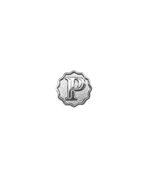 Pins und Anstecker geprägt in Sandkorn - Optik Motiv Buchstabe P