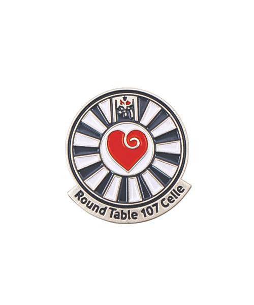 """Pin, geprägt und emailliert in Weichemaille """"Round Table 107"""