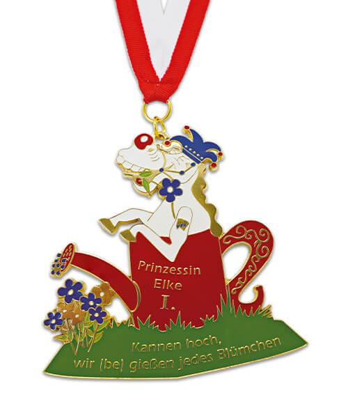 Karnevals-Medaille mit Stoffband Prinzessin Elke Vorderseite