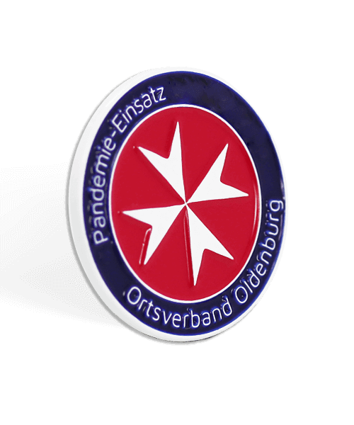 Anstecker Pins Anstecknadeln Pins bedruckt Pins bestellen Werbeartikel Werbemittel, Weichemaille - Johanniter Pandemieeinsatz Ortsverband Oldenburg 3D