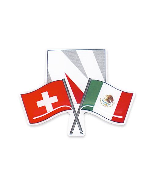Werbepins, Anstecker, Pins - Fahne Freundschaft Schweiz Italien