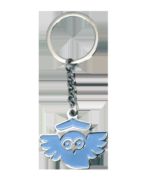 Schlüsselanhänger aus Metall Weichemaille Eule Vorderseite