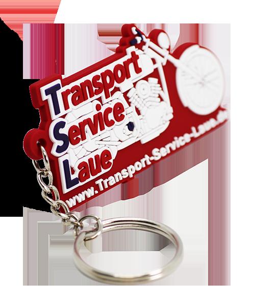 Schlüsselanhänger aus Weichgummi Transport Service Laue Vorderseite