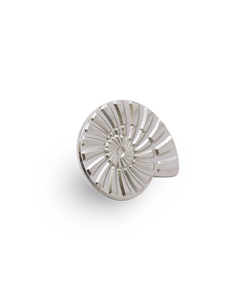 """Anstecknadeln, Pin """"Ammonit"""", Messing geprägt in Sandkorn-Optik - 3D"""